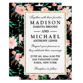 Stylish Modern Floral Roses Wedding Invitation