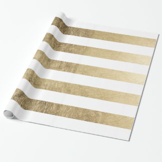 Stylish modern trendy faux gold foil stripes wrapping paper