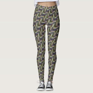 Stylish Multicolor Curvy Line Pattern Leggings