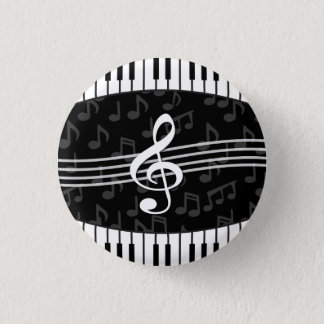 Stylish Music Notes Treble Clef and Piano Keys 3 Cm Round Badge