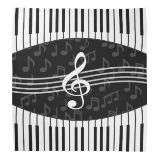 Stylish Music Notes Treble Clef and Piano Keys Kerchiefs