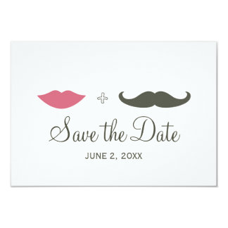 Stylish Mustache and Lips Save the Date 9 Cm X 13 Cm Invitation Card