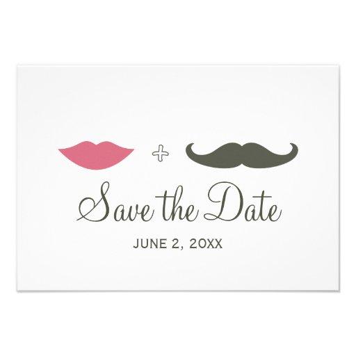 Stylish Mustache and Lips Save the Date Custom Invitation