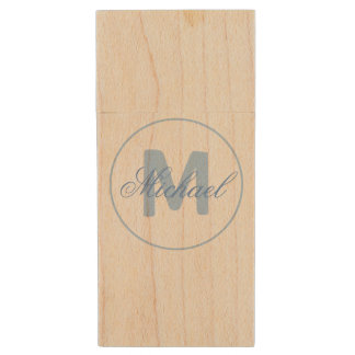 Stylish Name and Monogram Medallion Cerulean Blue Wood USB 2.0 Flash Drive