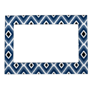 Stylish Navy Blue Black Ikat Pattern Magnetic Picture Frame