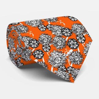 Stylish Orange And White Floral Print Tie