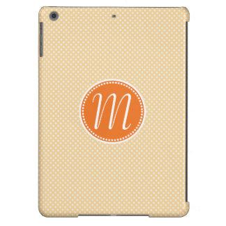 Stylish Orange Pastel Polka Dot Monogram Case For iPad Air