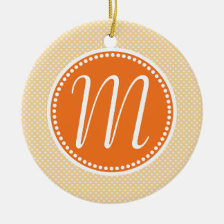 Stylish Orange Pastel Polka Dot Monogram Round Ceramic Decoration