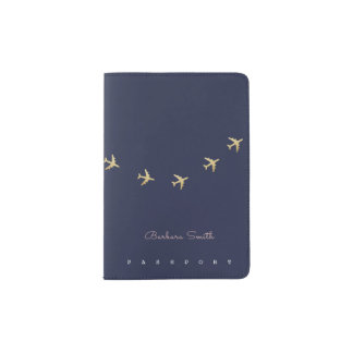 stylish passport cover with airplanes flying