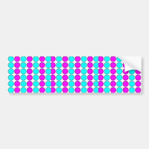 Stylish Patterns for Her : Pink & Cyan Polka Dots Bumper Sticker