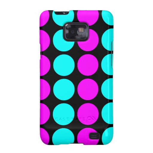 Stylish Patterns for Her : Pink & Cyan Polka Dots Samsung Galaxy S Cases