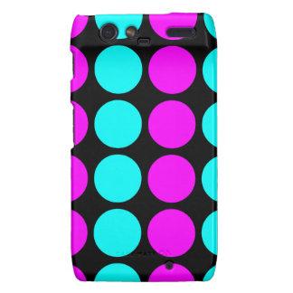 Stylish Patterns for Her : Pink & Cyan Polka Dots Motorola Droid RAZR Case
