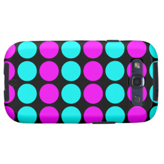 Stylish Patterns for Her : Pink & Cyan Polka Dots Samsung Galaxy S3 Cover