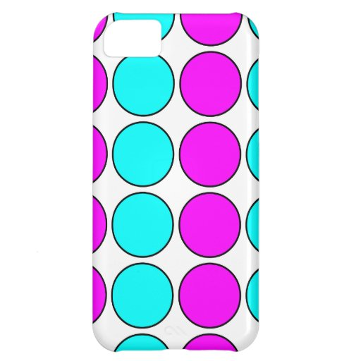 Stylish Patterns for Her : Pink & Cyan Polka Dots Cover For iPhone 5C