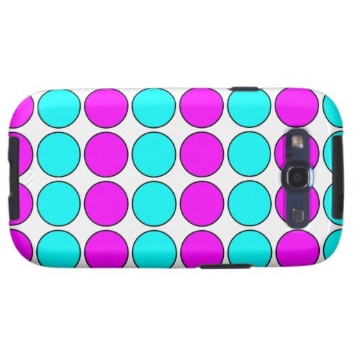 Stylish Patterns for Her : Pink & Cyan Polka Dots Samsung Galaxy SIII Covers