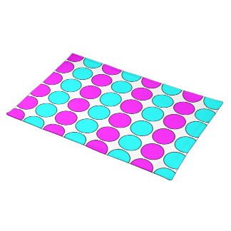 Stylish Patterns for Her : Pink & Cyan Polka Dots Place Mat