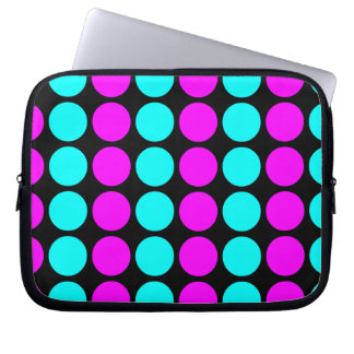 Stylish Patterns for Her : Pink & Cyan Polka Dots Computer Sleeve