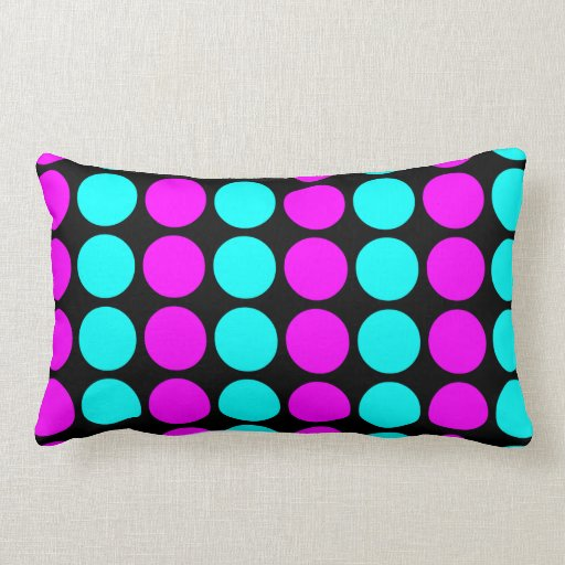 Stylish Patterns for Her : Pink & Cyan Polka Dots Throw Pillows