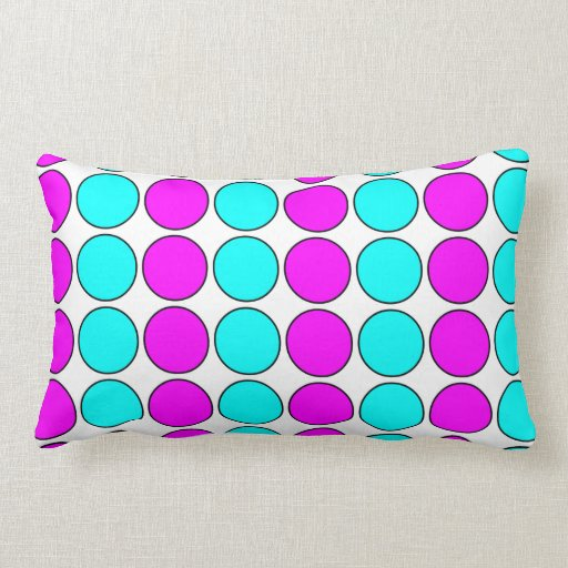 Stylish Patterns for Her : Pink & Cyan Polka Dots Pillows