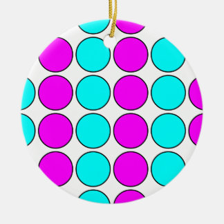 Stylish Patterns for Her : Pink & Cyan Polka Dots Round Ceramic Decoration
