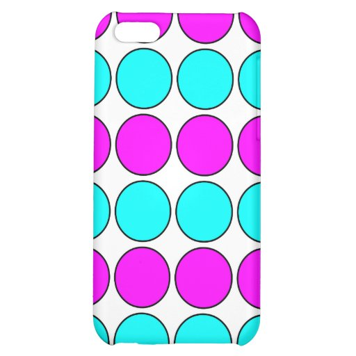 Stylish Patterns for Her : Pink & Cyan Polka Dots iPhone 5C Case