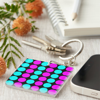 Stylish Patterns for Her : Pink & Cyan Polka Dots Single-Sided Square Acrylic Key Ring