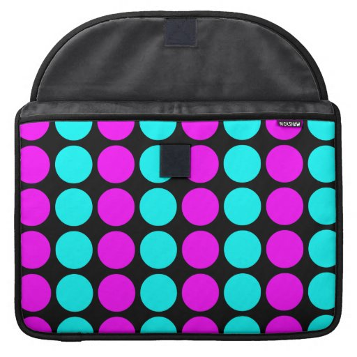 Stylish Patterns for Her : Pink & Cyan Polka Dots Sleeves For MacBooks