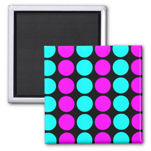 Stylish Patterns for Her : Pink & Cyan Polka Dots Refrigerator Magnet