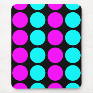 Stylish Patterns for Her : Pink & Cyan Polka Dots Mouse Pad
