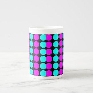Stylish Patterns for Her : Pink & Cyan Polka Dots Bone China Mug