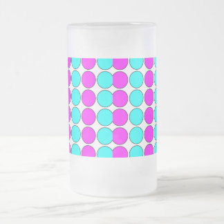 Stylish Patterns for Her : Pink & Cyan Polka Dots Frosted Glass Mug