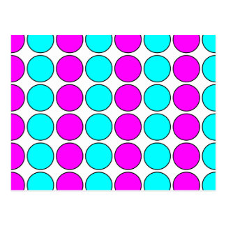 Stylish Patterns for Her : Pink & Cyan Polka Dots Postcard