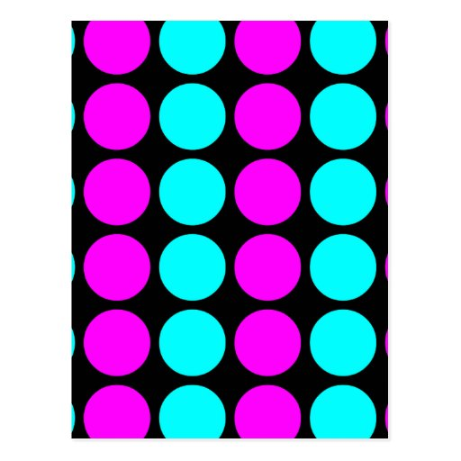 Stylish Patterns for Her : Pink & Cyan Polka Dots Postcards