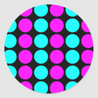 Stylish Patterns for Her : Pink & Cyan Polka Dots Round Sticker