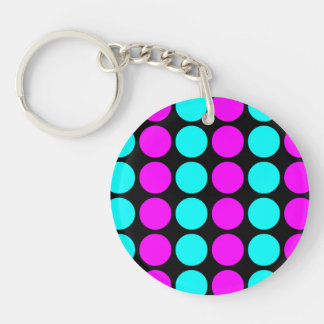 Stylish Patterns for Her : Pink & Cyan Polka Dots Single-Sided Round Acrylic Key Ring