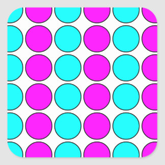 Stylish Patterns for Her : Pink & Cyan Polka Dots Square Sticker