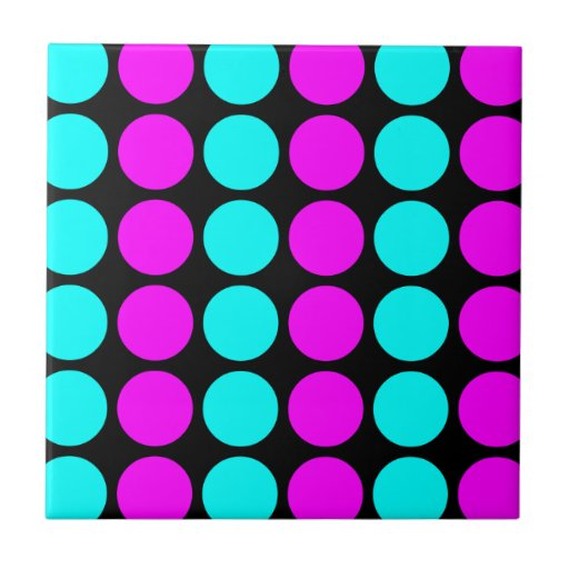 Stylish Patterns for Her : Pink & Cyan Polka Dots Tiles