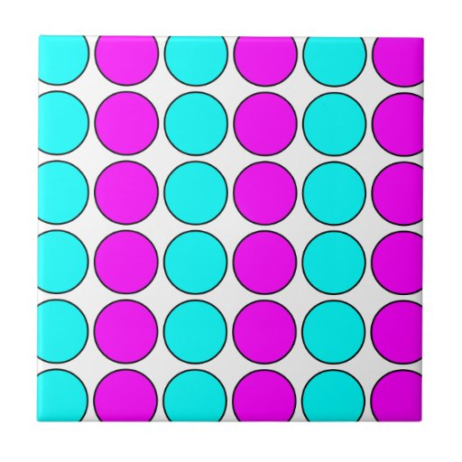 Stylish Patterns for Her : Pink & Cyan Polka Dots Tile