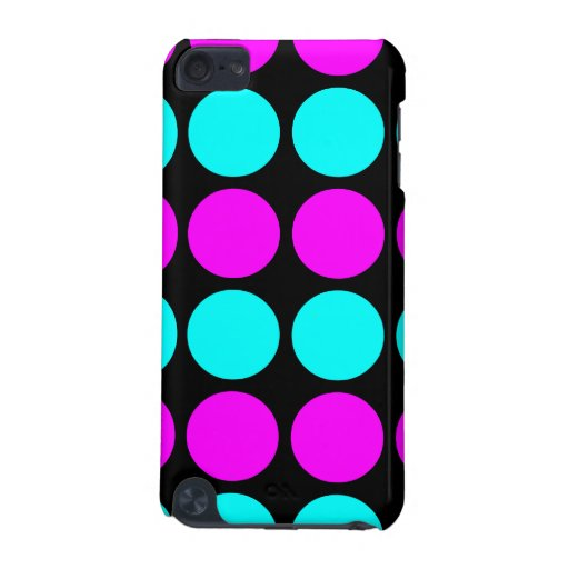 Stylish Perns for Her : Pink & Cyan Polka Dots iPod Touch (5th Generation) Cases