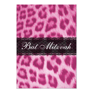Stylish Pink Cheetah Lace Bat Mitzvah Invitation