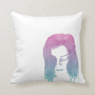 Stylish Pink/Cyan Watercolour Drawing Cushion