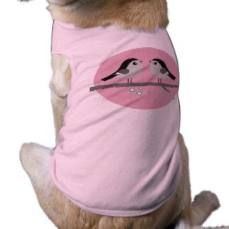 Stylish pink Dog cloth with Love birds Sleeveless Dog Shirt