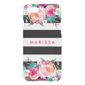 Stylish Pink Watercolor Black White Stripe iPhone 7 Case