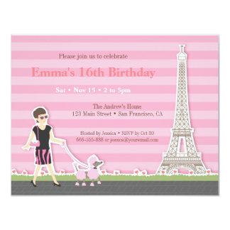 Stylish Poodle Eiffel Tower Paris Birthday Party 11 Cm X 14 Cm Invitation Card