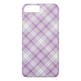 Stylish purple chequered Pattern iPhone 8 Plus/7 Plus Case