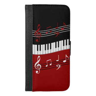 Stylish Red Black White Piano Keys and Notes iPhone 6/6s Plus Wallet Case