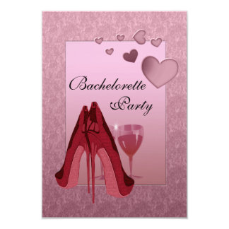 Stylish Red Stiletto and Pink Hearts Invitations