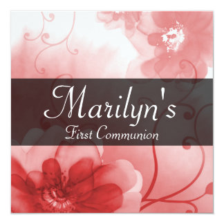 Stylish Ruby Red and Gray Floral First Communion Card