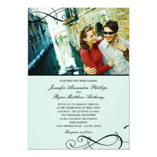 Stylish Scrolls Wedding Photo Invitations