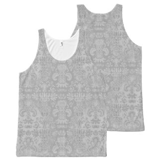 Stylish-Silver--Damask-Women's-Tank-Top All-Over Print Singlet
